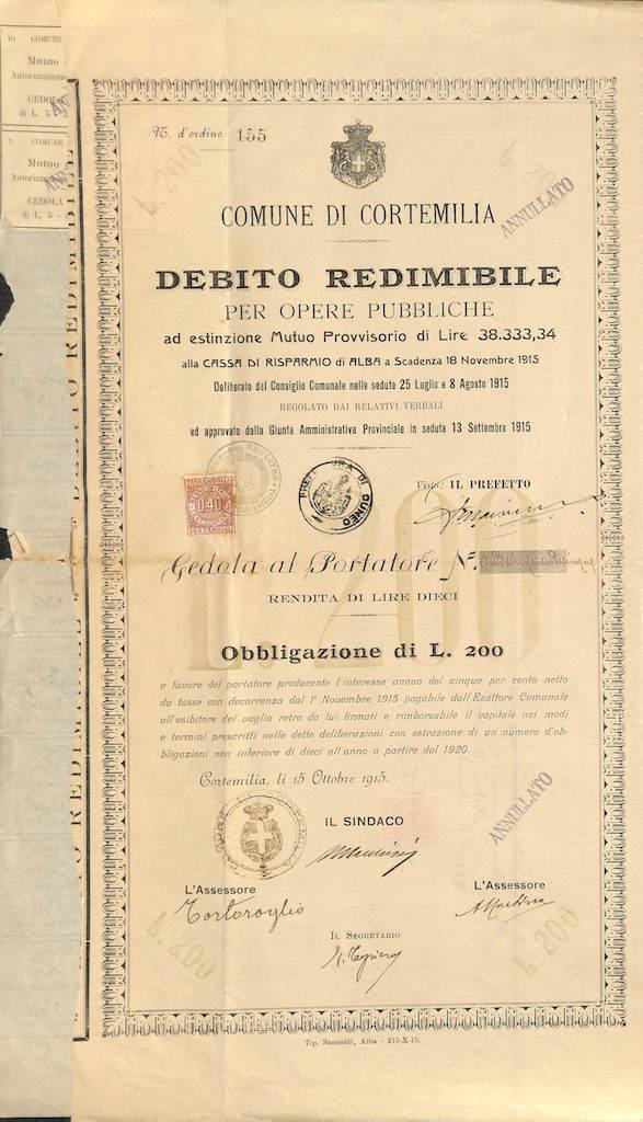 Comune di Cortemilia - Debito Redimibile per Opere Pubbl.