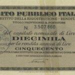 1946 – Debito Pubblico Italiano – Prestito della Ricostruzione – Rendita 5% – Roma-3