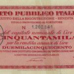 1946 – Debito Pubblico Italiano – Prestito della Ricostruzione – Rendita 5% – Roma-5
