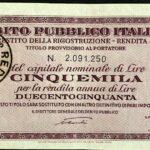 1946 – Debito Pubblico Italiano – Prestito della Ricostruzione – Rendita 5% – Roma-2