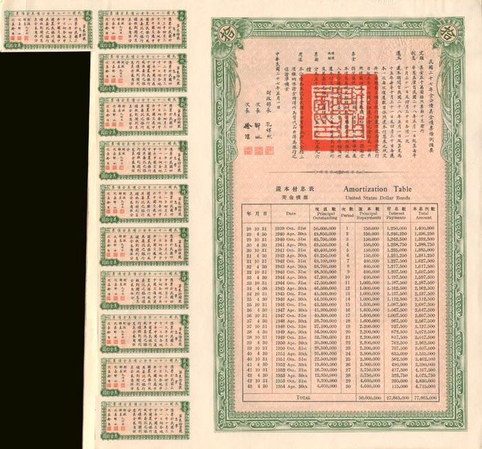$10 27th Year Gold Loan Republic of China Bond