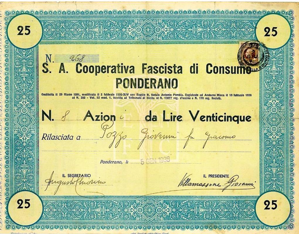 S. A. COOPERATIVA FASCISTA DI CONSUMO PONDERANO