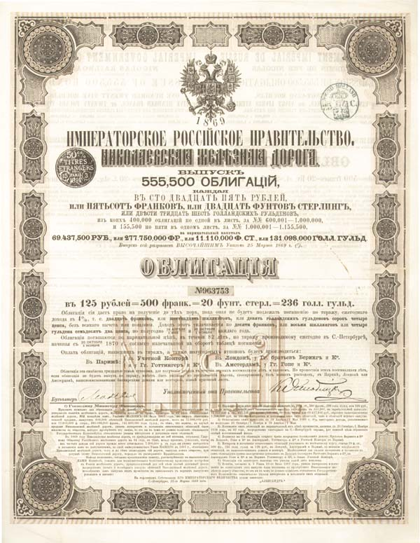 Imperial Govt of Russia-Nicolas RR