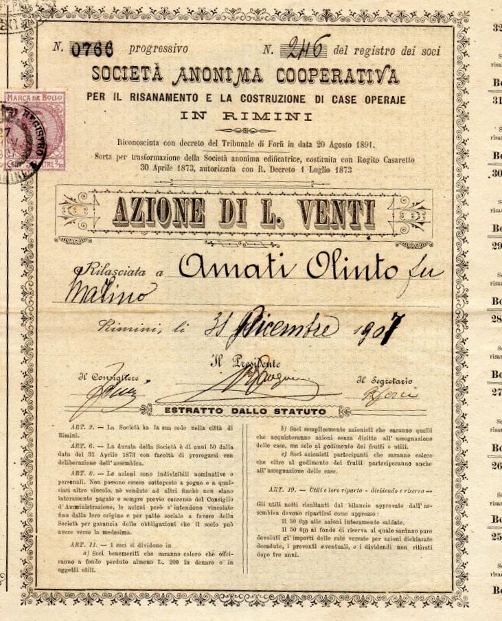 SOCIETA' ANONIMA COOPERATIVA PER IL RISANAMENTO E LA COSTRUZIONE DI CASE  OPERAIE