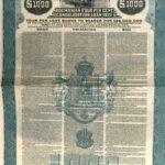 KINGDOM OF ROUMANIA 4% CONSOLIDATION LOAN GOLD DOLLAR  1922-1