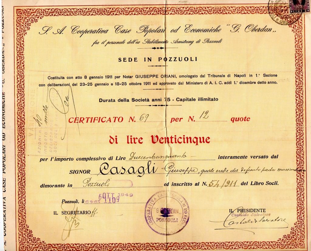S. A. COOPERATIVA CASE POPOLARI ECONOMICHE G. OBERDAN