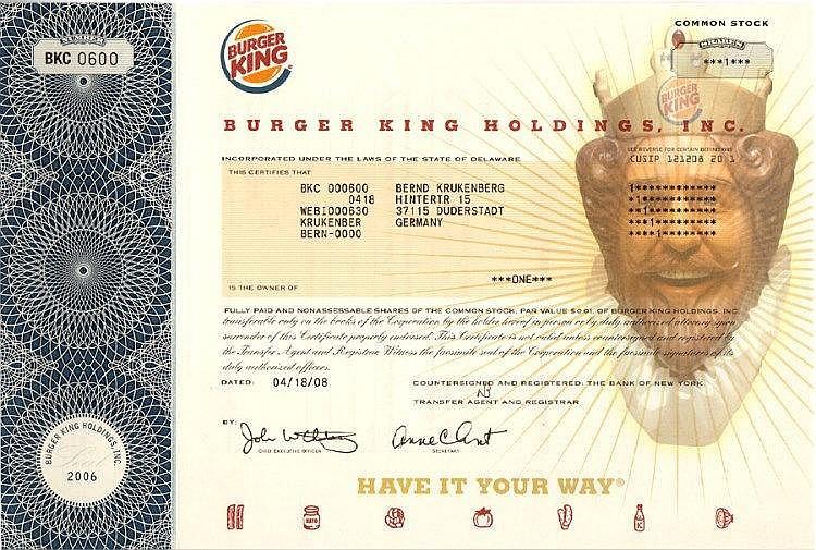 Burger King Holding Inc.