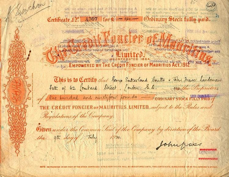 Credit Foncier of Mauritus, Limited