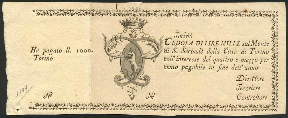 Monte di San Secondo  (cedole) Torino Lire 1.000