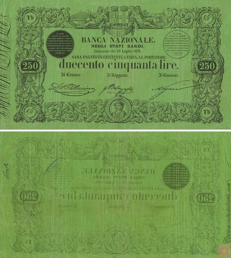 Banca Nazionale negli Stati Sardi - Lire 250