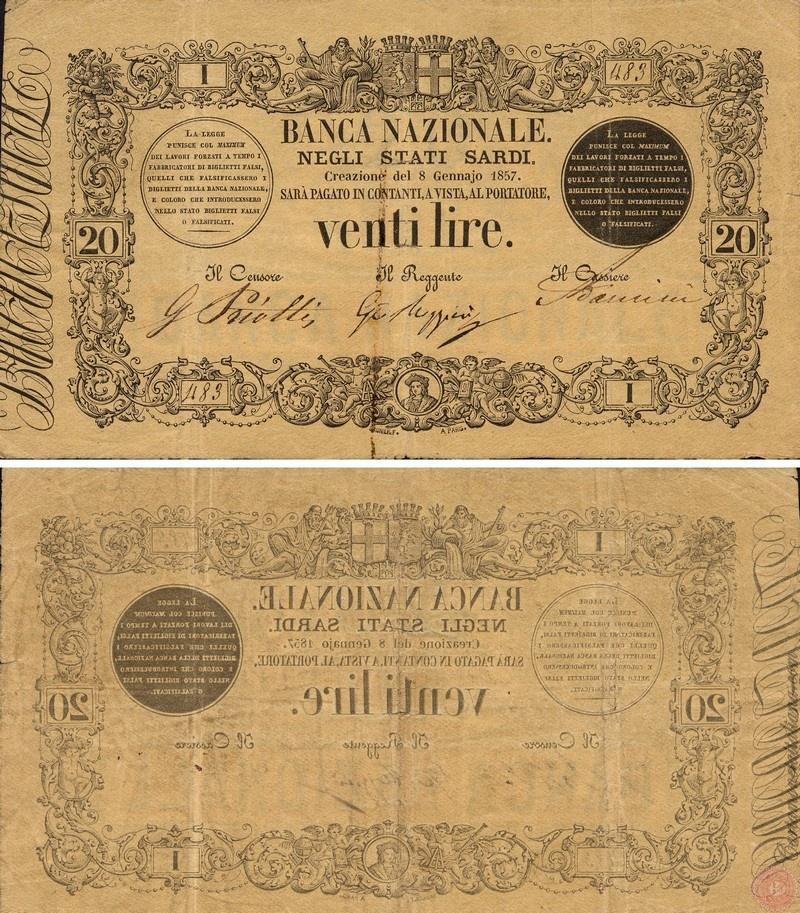 Banca Nazionale negli Stati Sardi - Lire 20
