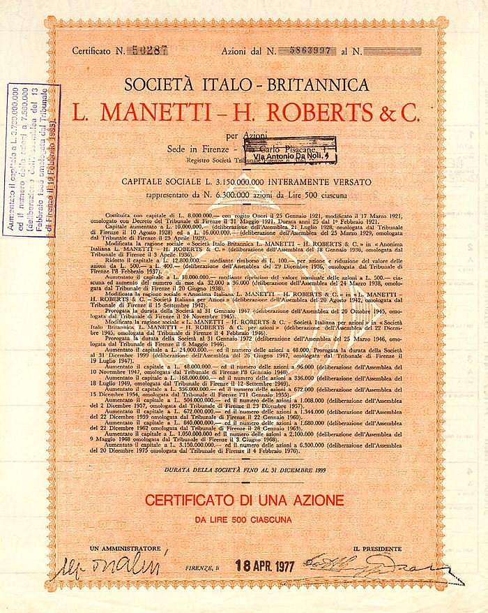 Italo-Britannica L. Manetti-H. Roberts Soc.