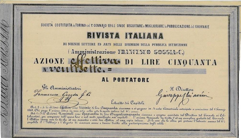 RIVISTA ITALIANA DI SCIENZE LETTERE ED ARTI DELLE EFFEMERIDI DELLA PUBBLICA ISTRUZIONE