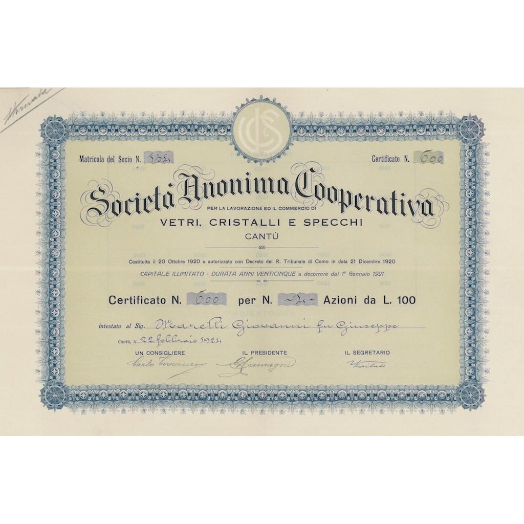 Cooperativa per la Lavorazione ed il Commercio di Vetri Cristalli e Specchi S.A.